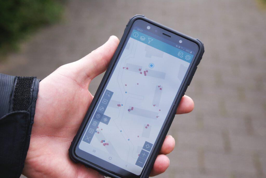 Invoerscherm smartphone bij musseninventarisatie.